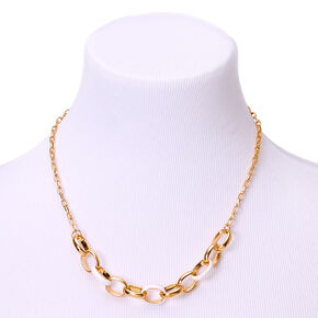Gold Enamel Link Statement Necklace - White,