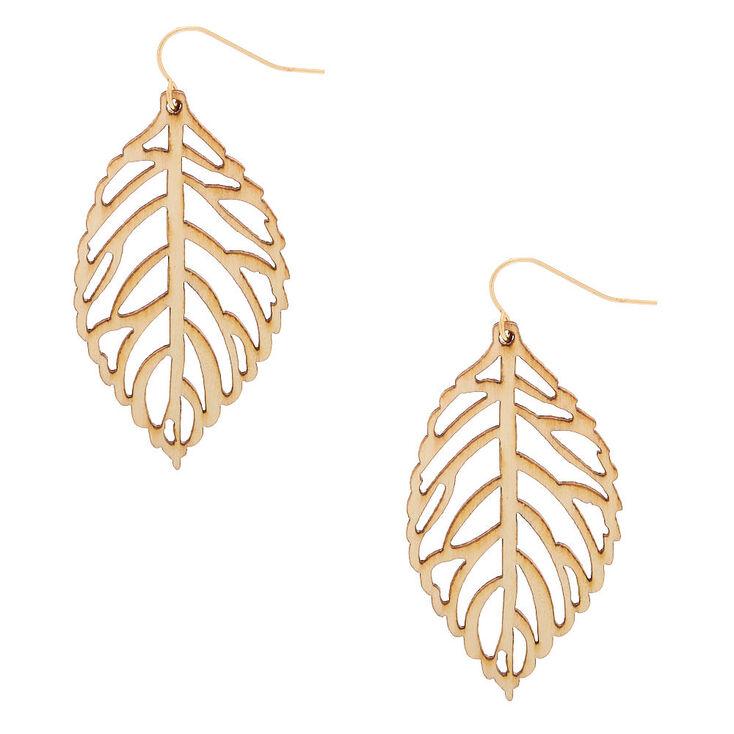"""Gold 2"""" Wooden Leaf Drop Earrings - Cream,"""