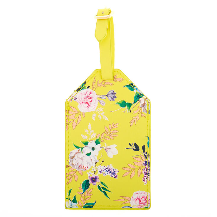 Floral Luggage Tag - Yellow,