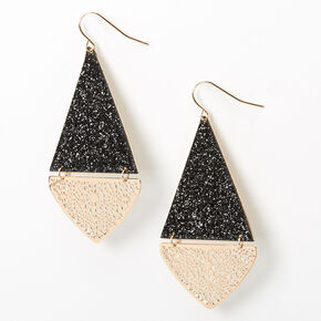 "Gold 2"" Glitter Filigree Triangle Drop Earrings - Black,"