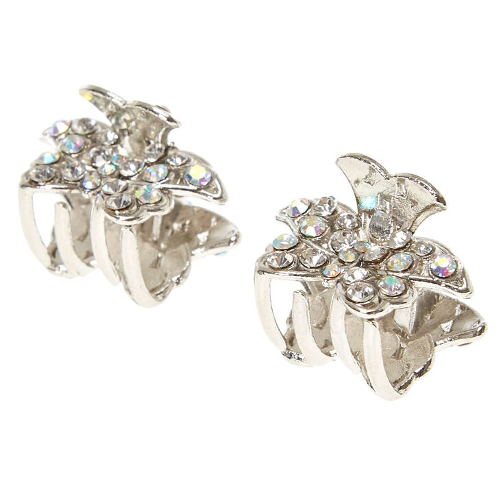Small Silver AB Crystal Butterfly Hair Claws,