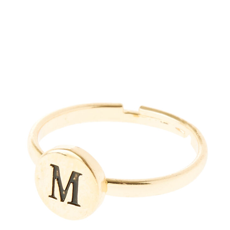 "Gold Circle ""M"" Initial Letter Ring,"