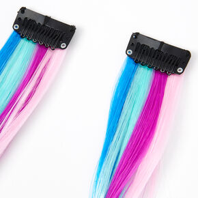 Mermaid Striped Faux Hair Clip In Extensions - 2 Pack,