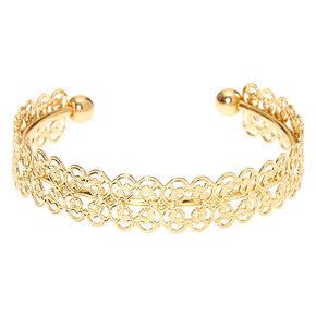Gold Filigree Cuff Bracelet,