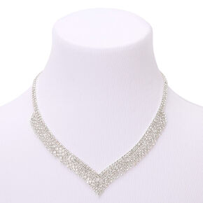 Silver Rhinestone Zig Zag Statement Necklace,