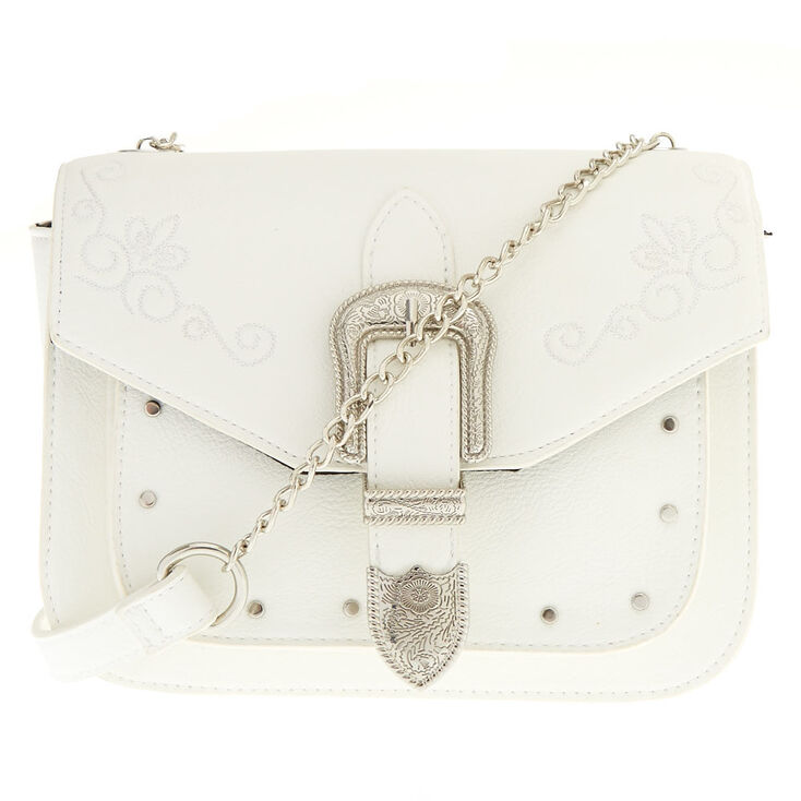 Faux Leather White Western Buckle Crossbody Bag,