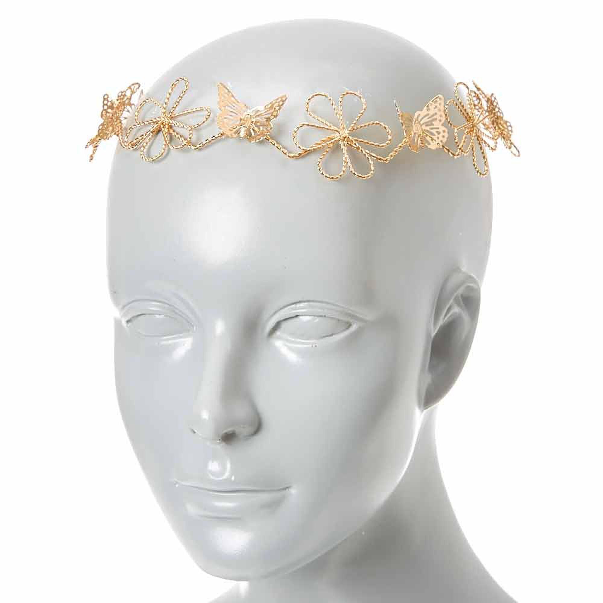 Gold Wire Flower & Butterflies Hair Garland | Icing US