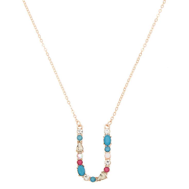 Embellished Long Initial Pendant Necklace - U,