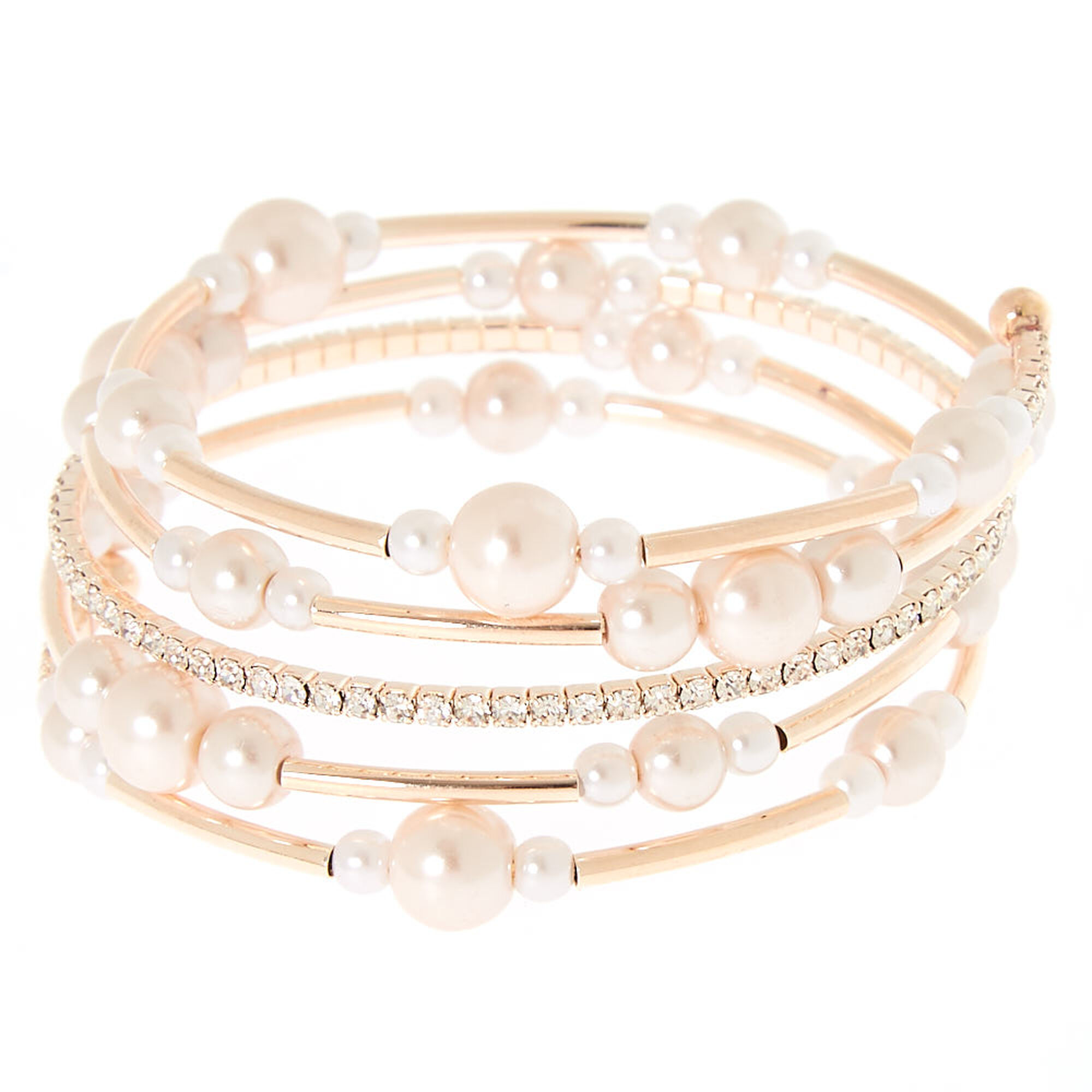 Rose Gold Pearl Orbit Wrap Statement Bracelet