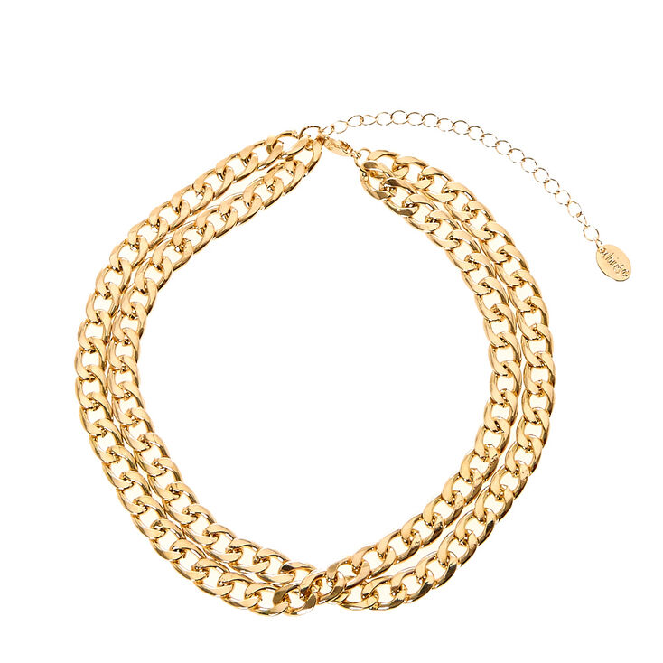 Gold Double Chain Choker,