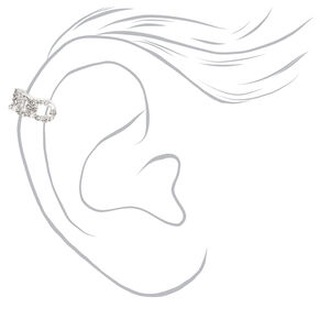 Silver Crystal Chain Ear Cuffs - 3 Pack,