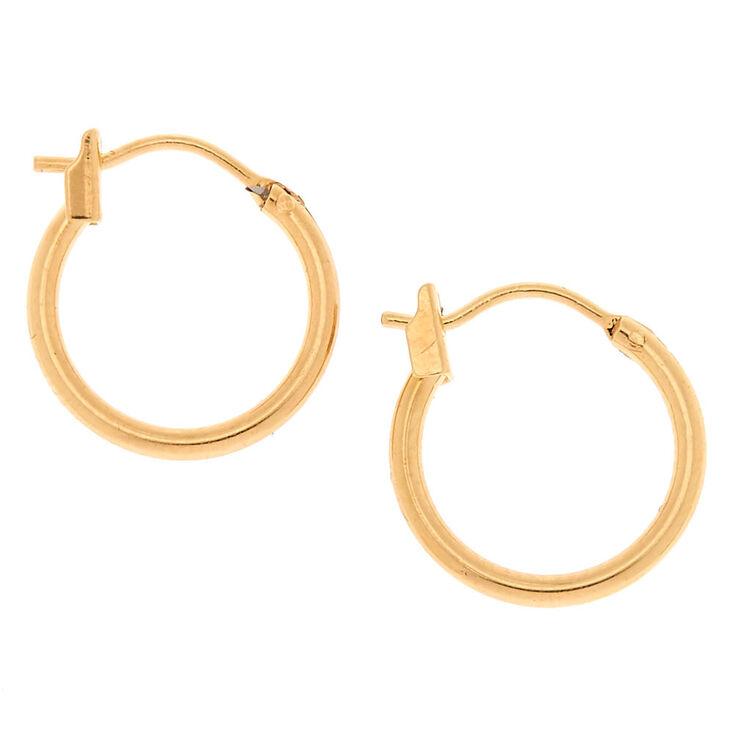 18kt Gold Plated 14MM Hoop Earrings,