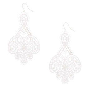 "3"" Crochet Floral Chandelier Drop Earrings - White,"