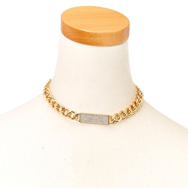 Gold-Tone Chain with Silver Glitter Bar Necklace,