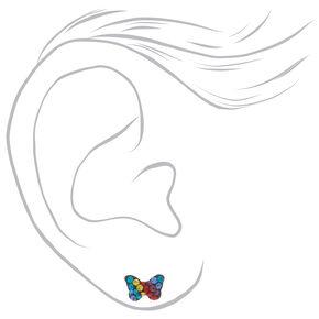 Sterling Silver Rainbow Butterfly Stud Earrings,