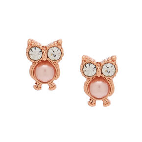 18kt Rose Gold Plated Pearl Owl Stud Earrings,