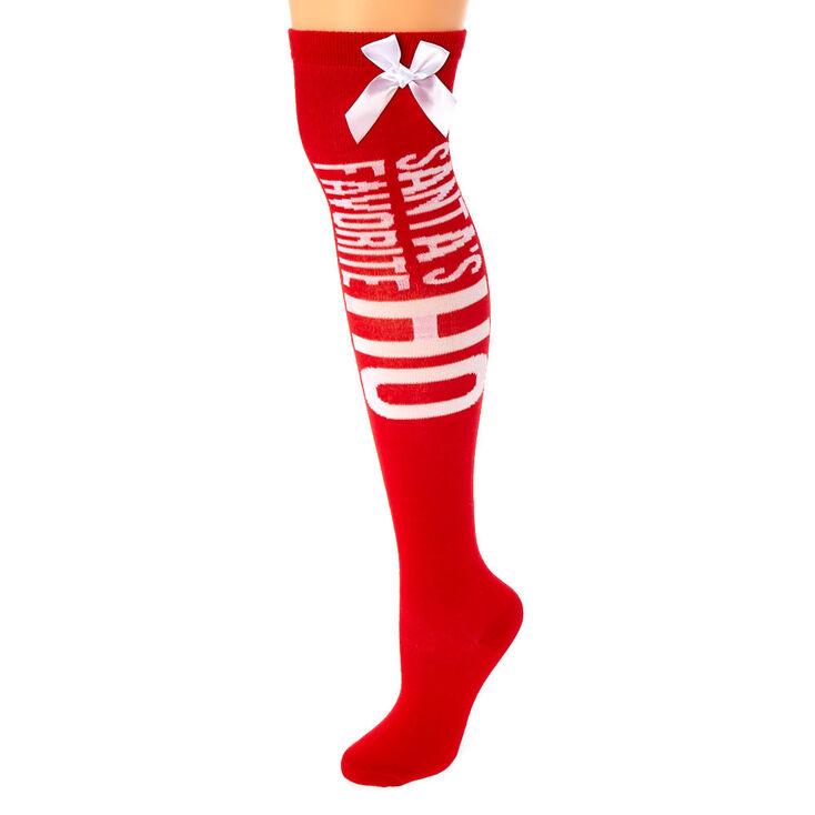 Santa's Favorite Ho Over the Knee Socks - Red,