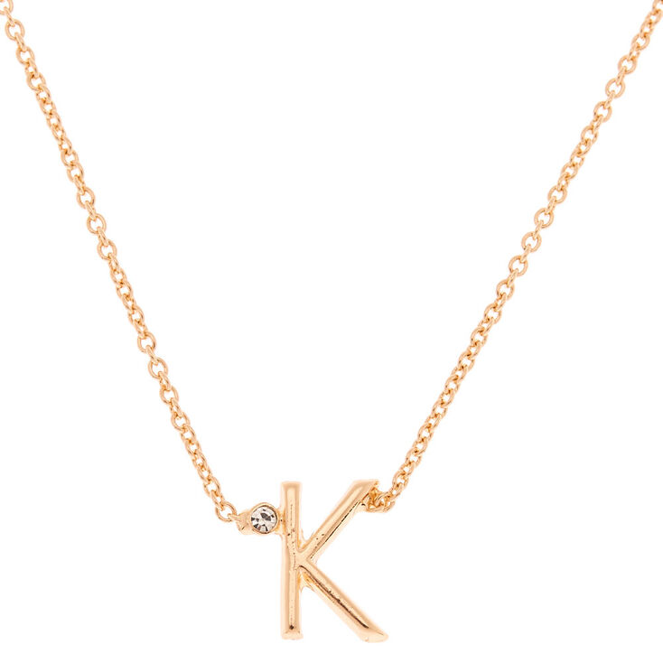 Gold Initial Necklace - K,