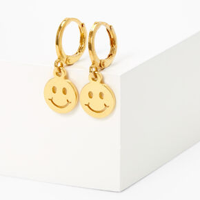 18kt Gold Plated 10MM Smiley Face Huggie Hoop Earrings,