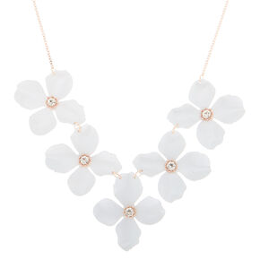Rose Gold Floral Statement Necklace - White,