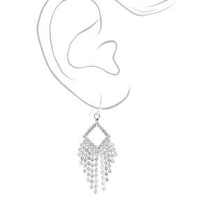 Silver Rhinestone Diamond Shaped Chandelier Earrings,