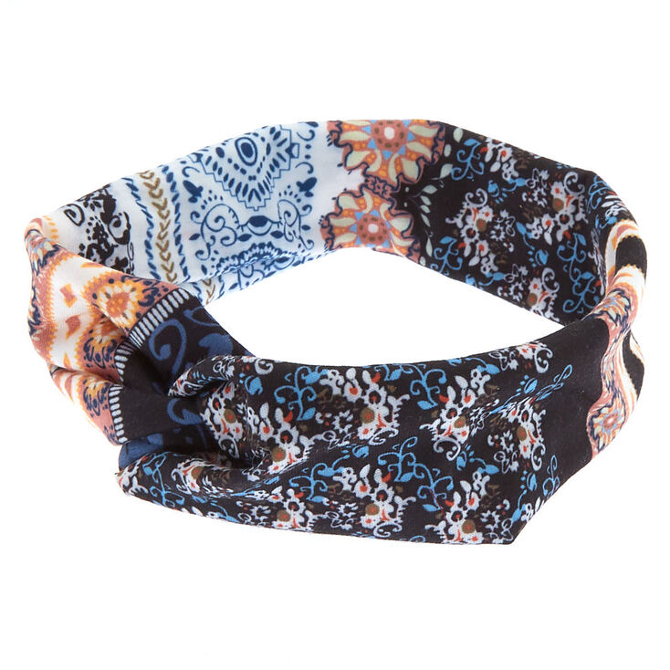 Boho Floral Twisted Headwrap - Black,