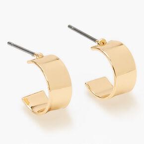 Gold 10MM Flat Hoop Earrings,