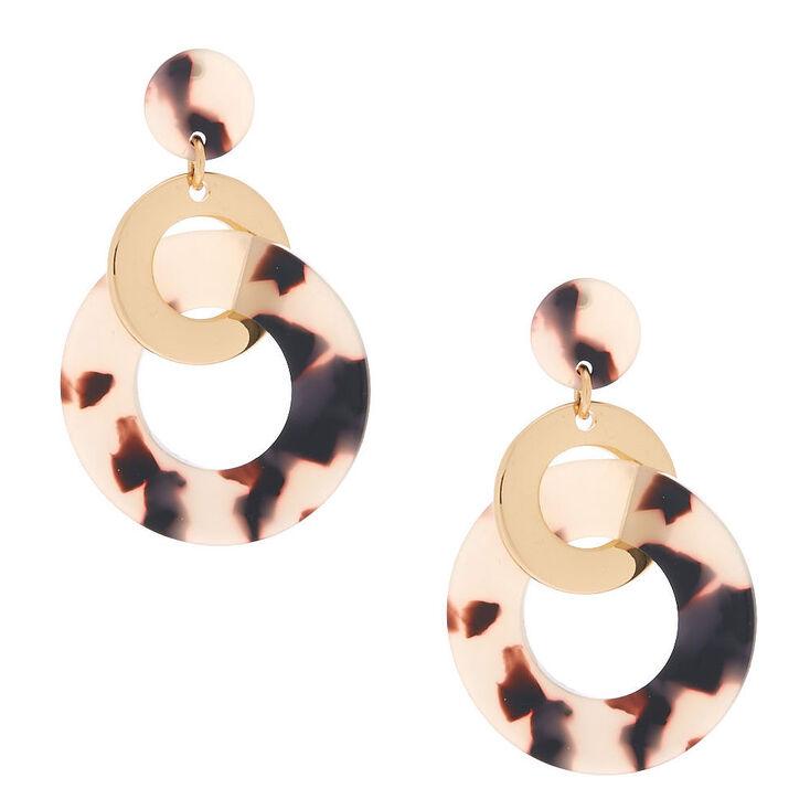"""Gold 2"""" Tortoiseshell Ring Link Drop Earrings,"""