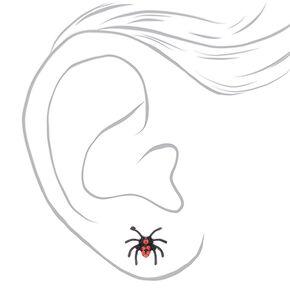 Spider Stud Earrings - Black, 3 Pack,