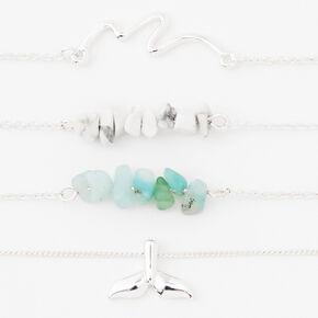Silver Ocean Splendor Chain Bracelets - 4 Pack,