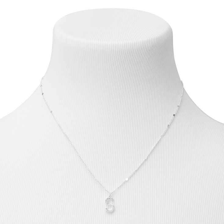 Silver Half Stone Initial Pendant Necklace - S,