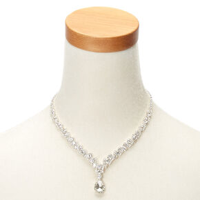 Silver Imitation Crystal Teardrop Jewelry Set,