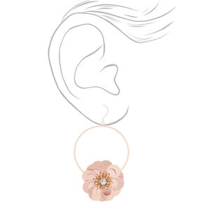 "Rose Gold 2.5"" Sequin Flower Drop Earrings - Rose Gold,"