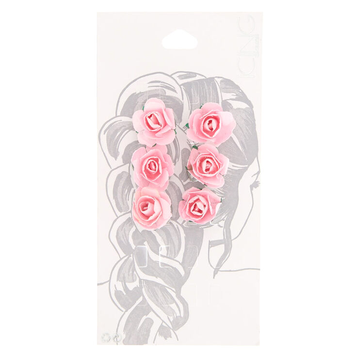 Pink Paper Rose Hair Spinners,