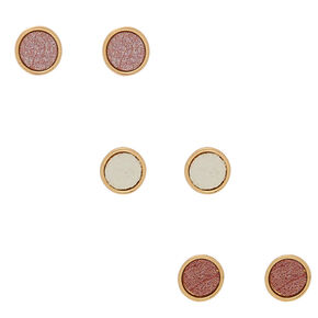 Rose Gold Button Stud Earrings - 3 Pack,