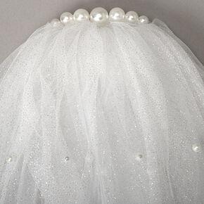 Shoulder Length Pearl Glitter Bridal Veil - White,