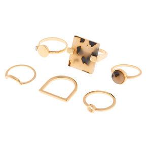 Gold Resin Tortoiseshell Rings - 6 Pack,
