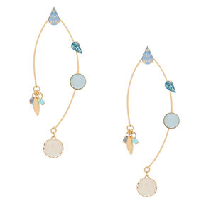 "Gold 2.5"" Opal Stone Drop Earrings - Blue,"
