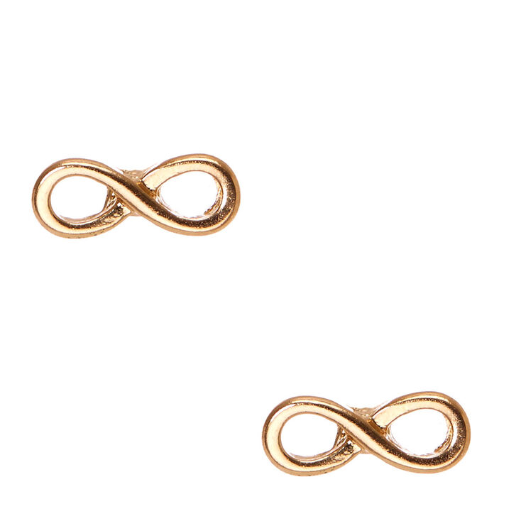 Gold Infinity Symbol  Stud Earrings,