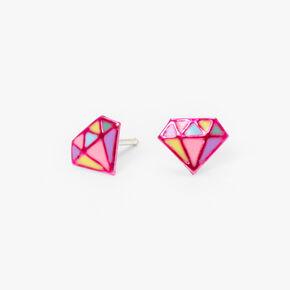 Sterling Silver Pastel Diamond Stud Earrings - Pink,