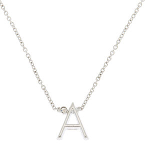 Silver Initial Necklace - A,