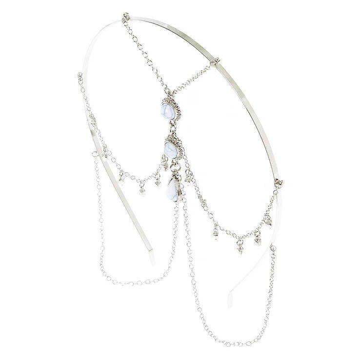 Marble Effect Silver Chain Headband,