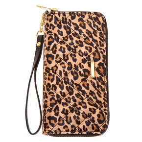 Quilted Leopard Wristlet - Brown,