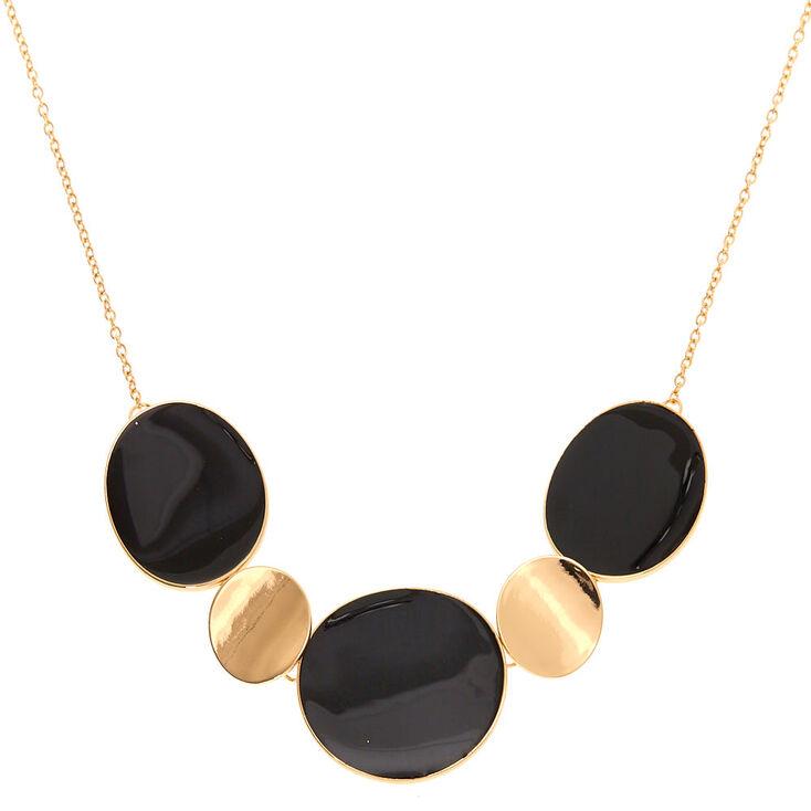 Gold Enamel Disc Statement Necklace - Black,