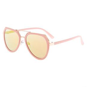 Rose-Gold Aviator Sunglasses - Pink,