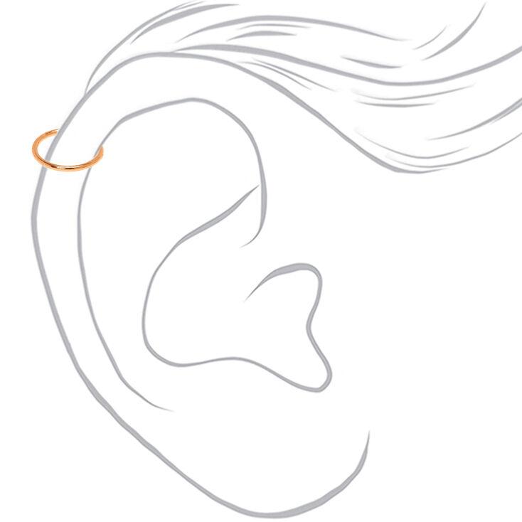 Rose Gold Crystal Faux Cartilage Hoop Earrings - Black, 3 Pack,