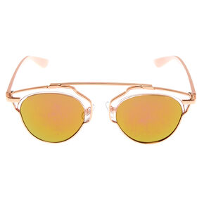 Rose Gold Clear Aviator Sunglasses,
