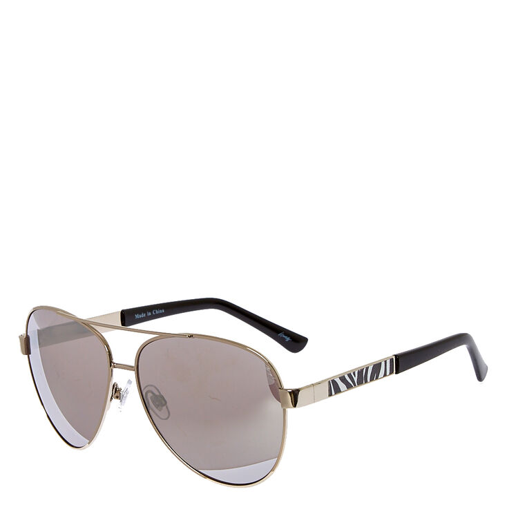 Zebra Pattern Mirrored Sunglasses,