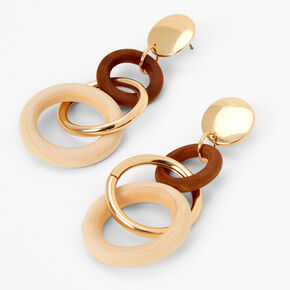 "Gold 3"" Wooden Circle Drop Earrings - Brown,"