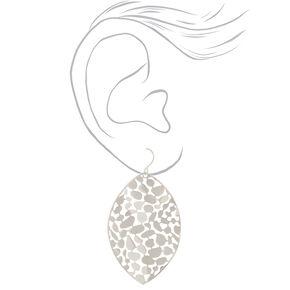 "Silver 2"" Pebble Leaf Drop Earrings,"